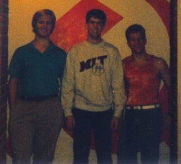 Wyatt, Wes, and Mike in MacGregor dorm in October 1988